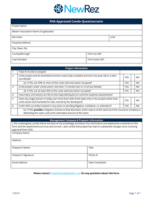 FHA Approved Condo Questionnaire Image