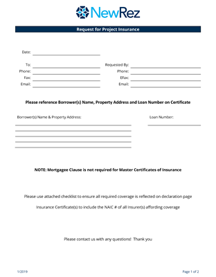 Project Insurance Request Form Image