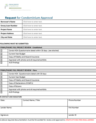 Condominium Approval Request Cover Page Image