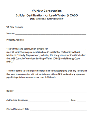 VA Builder Lead Water CABO Certification Image